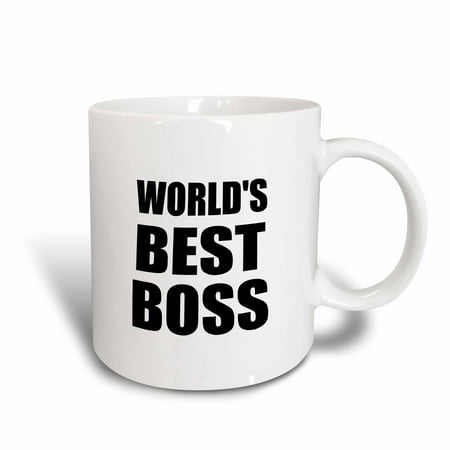 3dRose Worlds Best Boss in black - great text design for the greatest boss, Ceramic Mug, 11-ounce