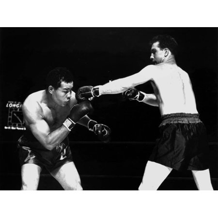 American Boxer Joe Louis (L) Fighting with Billy Conn 1946 Print Wall Art