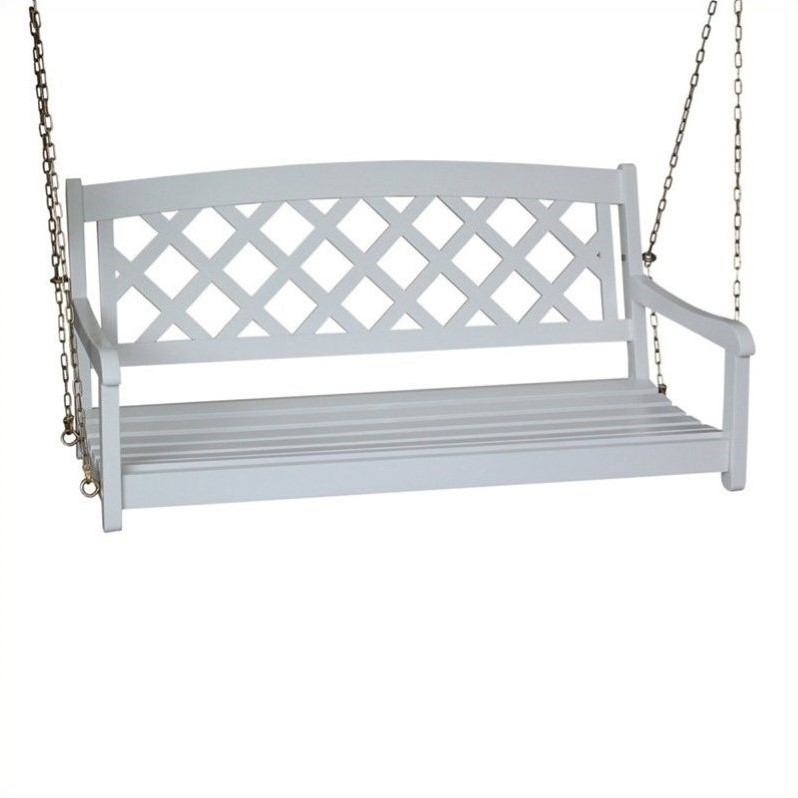 International Concepts 2 seat X-Back Porch Swing in White