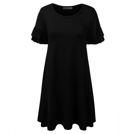 Doublju Women's Loose Fit Ruffle Sleeve Tunic Dress BLACK