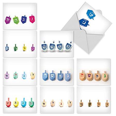 M5008 great dreidels 10 assorted hanukkah greeting cards feature m5008 great dreidels 10 assorted hanukkah greeting cards feature the traditional jewish tops with m4hsunfo
