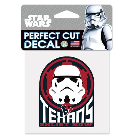 Houston Texans Official NFL 4 inch  x 4 inch  Star Wars Storm Trooper Die Cut Car Decal by WinCraft