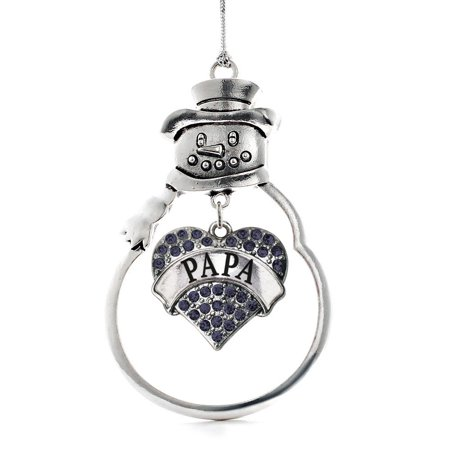 Papa Snowman - Papa Navy Blue Pave Heart Snowman Holiday Ornament