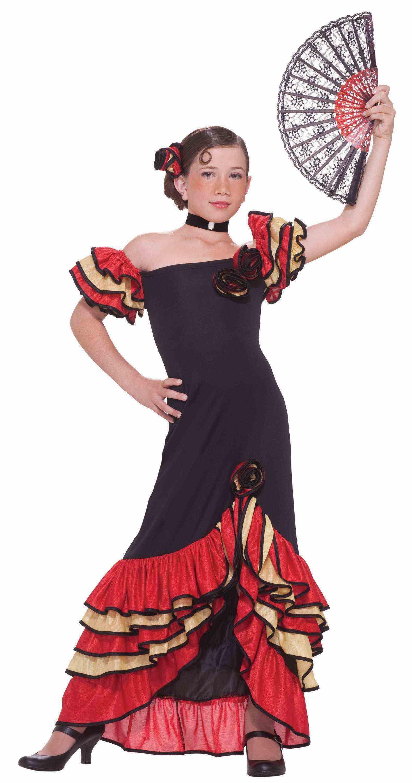 e796deb89 Girls Spanish Flamenco Dancer Costume Salsa Red Yellow Fancy ...