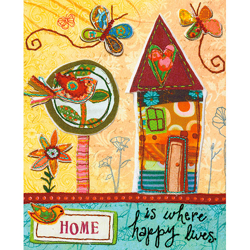 "Dimensions Handmade Refresh Home Is Happy Fabric Applique Embroidery Ki-8""X10"""