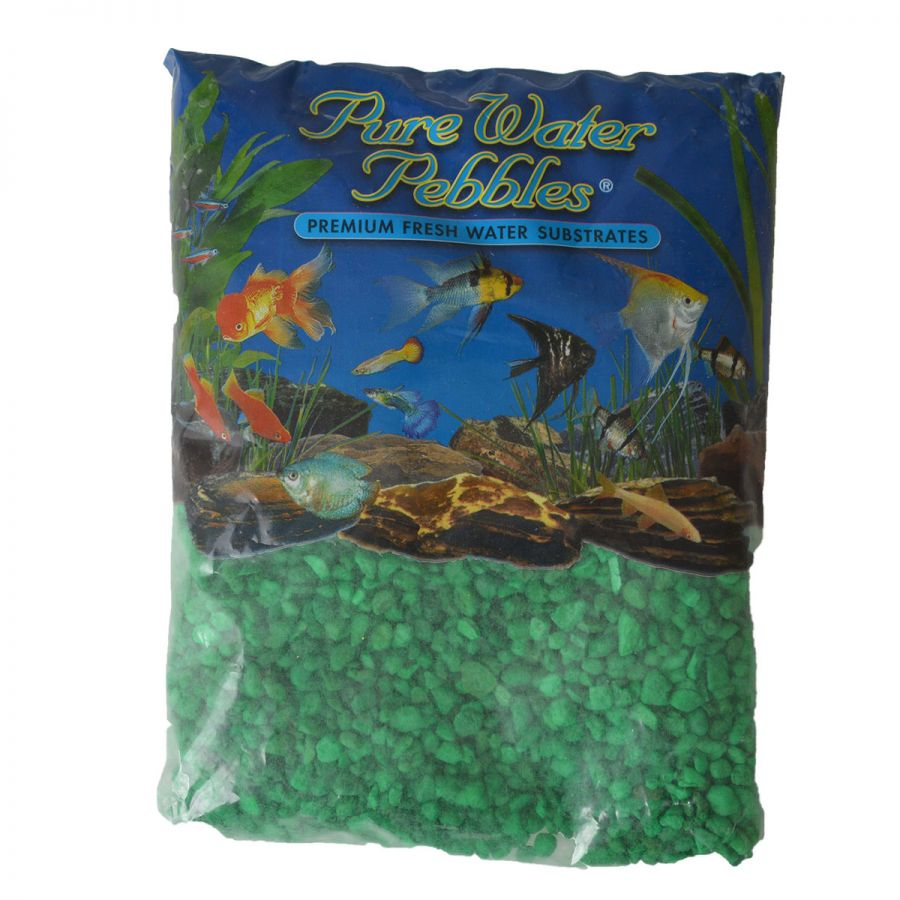 Pure Water Pebbles Aquarium Gravel - Neon Green 5 lbs (3.1-6.3 mm Grain)