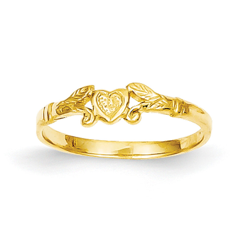 14k Yellow Gold Heart Baby Ring
