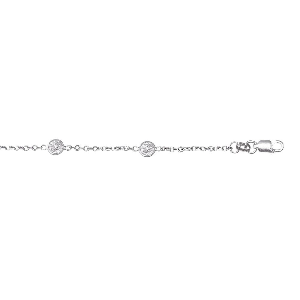 14k Gold Cubic Zirconia Station Necklace - Length: 16 to 18