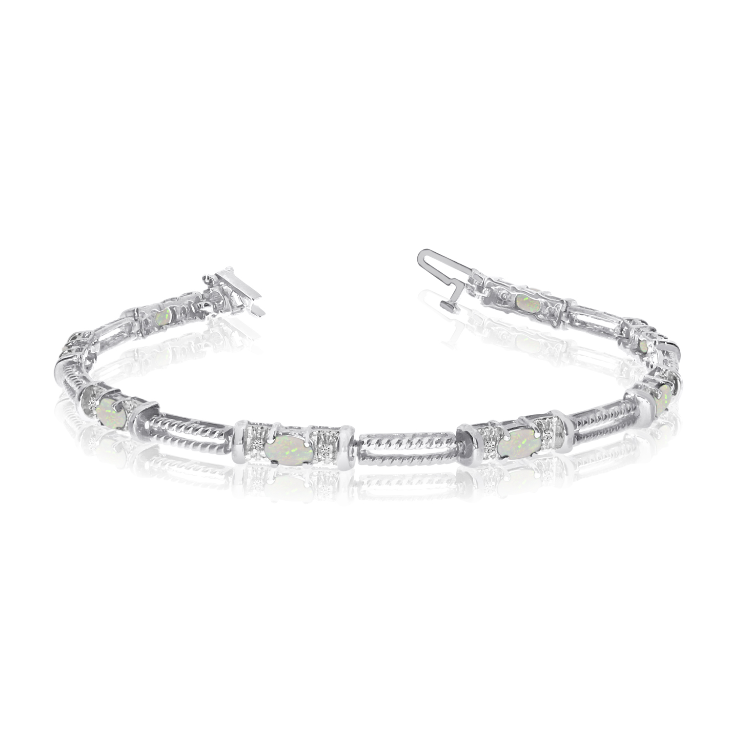 10k White Gold Natural Opal And Diamond Tennis Bracelet by LCD