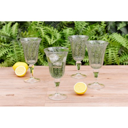 Better Homes & Gardens Outdoor Melamine Leggero Bubble Goblet, Green, Set of 4](Plastic Goblets)