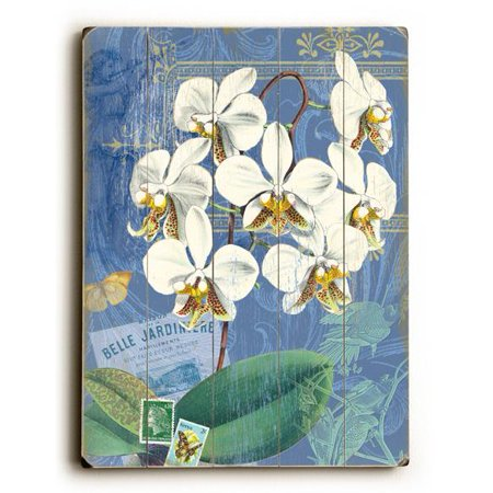 """ArteHouse Decorative Wood Sign """"White Orchid"""" by Artist Cory Steffen, 9"""" x 12"""", Solid Wood"""