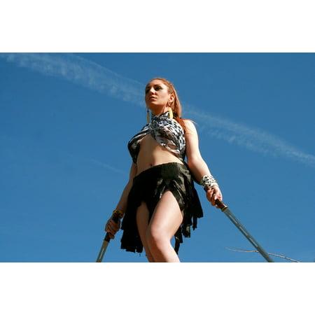 LAMINATED POSTER Beauty Girl Warrior Woman Wild Blonde Sword Poster Print 24 x 36](Blonde Warrior)