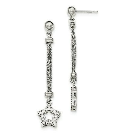 Strand Zirconia Earrings - Sterling Silver Cubic Zirconia Star 2 Strand Sparkle-Cut Post Dangle Earrings