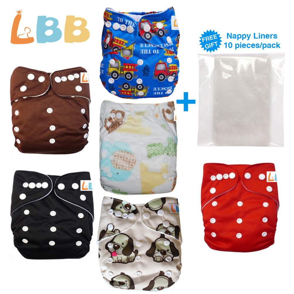 LBB Baby Cloth Diapers With Adjustable Size, Pocket Diapers, 6pcs Pack
