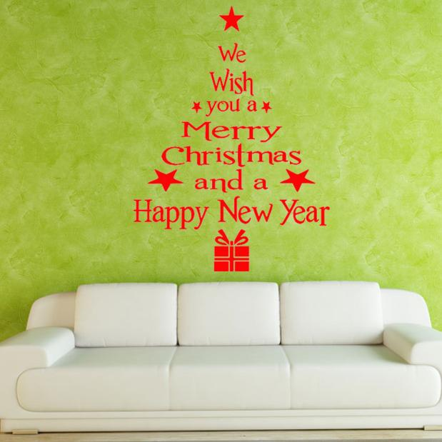 Hot Sale Christmas Tree Letters Stick Wall Art Decal Mural Home Room Decor Wall Sticke BK