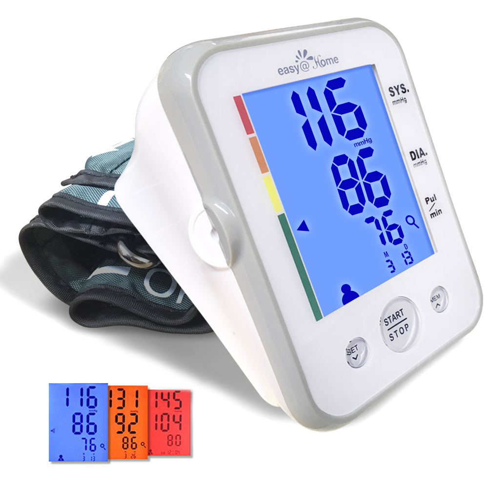 Easy@Home Blood Pressure Monitor Upper Arm featuring 3-Color Hypertension Backlit display and Pulse Meter, Large Size, WEBP-095L