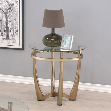 Acme Furniture Orlando II Champagne and Clear Glass End Table ()