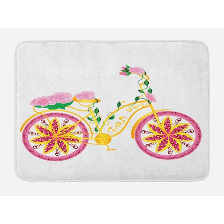Bicycle Bath Mat, Fantasy Bike with Exotic Swirling Floral Detail on the Seat and Tires Hippie Image, Non-Slip Plush Mat Bathroom Kitchen Laundry Room Decor, 29.5 X 17.5 Inches, Pink Yellow, Ambesonne