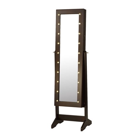 ViscoLogic Wooden Jewelry and Mirror Cabinet with LED lighting - Brown