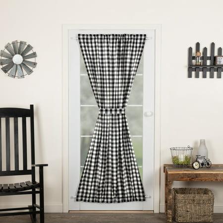Country Black Farmhouse Curtains Jenna Buffalo Check Rod Pocket Cotton Tie Back(s) Buffalo Check Door Panel