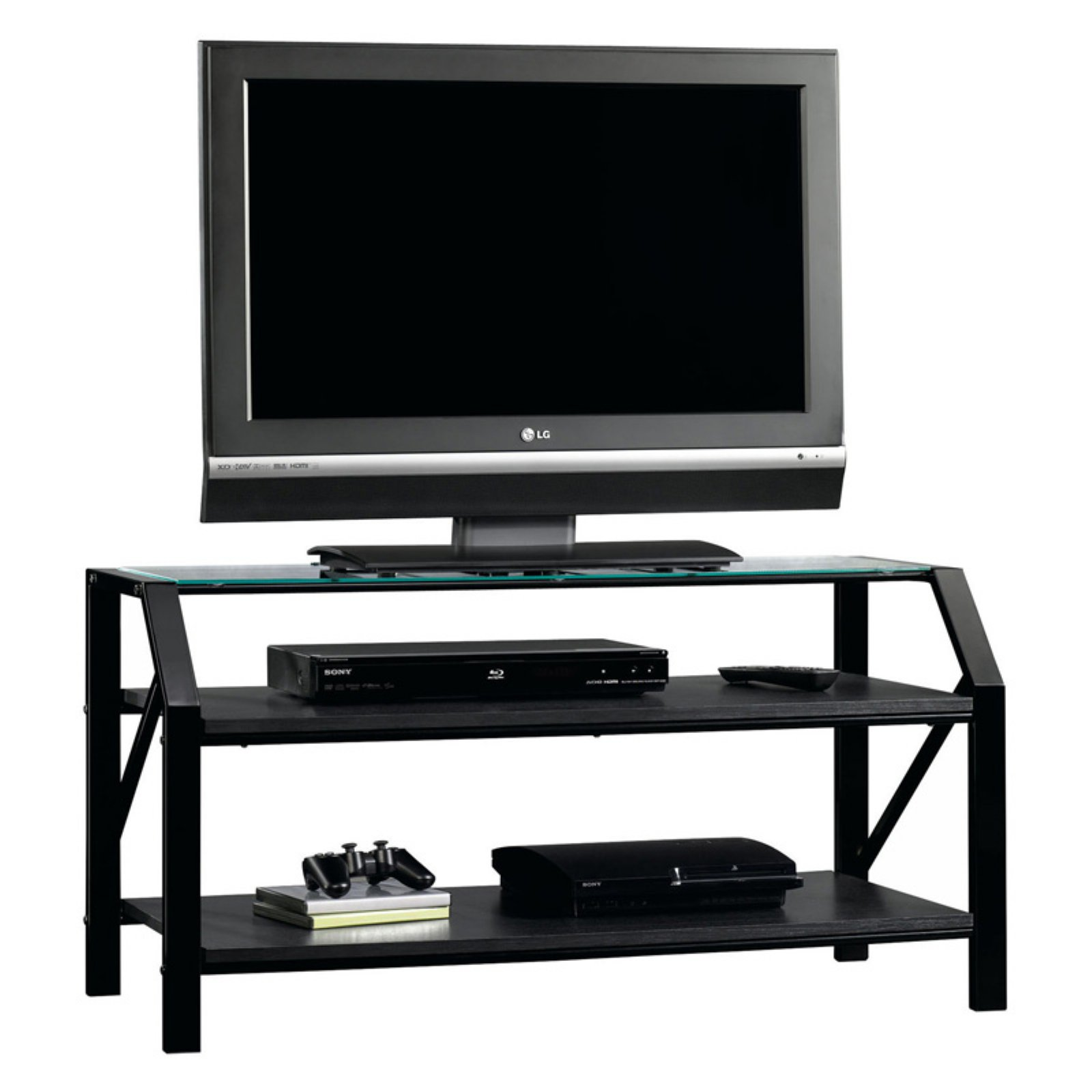 "Sauder Beginnings Panel TV Stand for TVs up to 47"", Black Finish"
