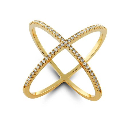 18K Yellow Gold Over Sterling Silver Cubic Zirconia Criss-Cross Single