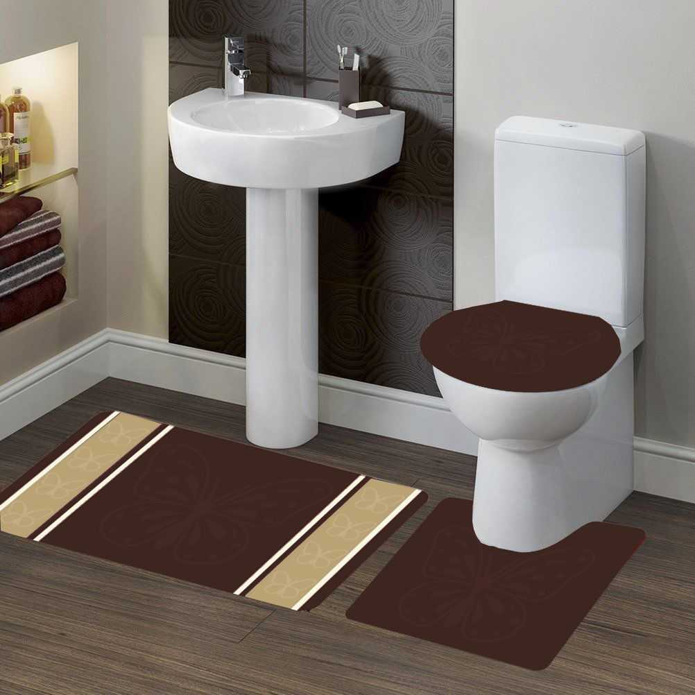 """3-PC (#7) Butterfly Brown HIGH QUALITY Jacquard Bathroom Bath Rug Set Washable Anti Slip Rug 18""""x28"""", Contour Mat 18""""x18"""" and Toilet Seat Lid Cover 18""""x19"""" with Non-Skid Rubber Back"""
