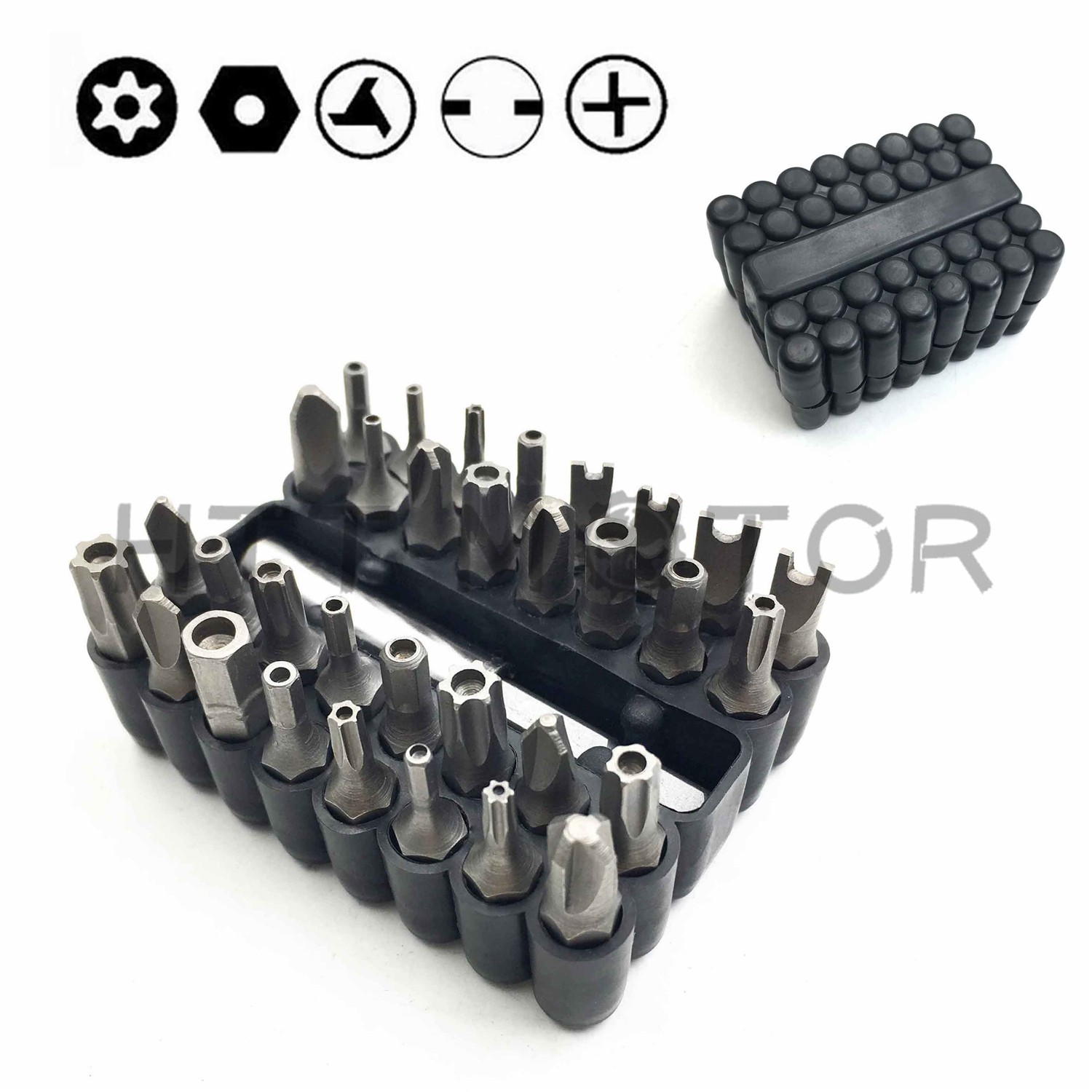 HTT Motorcycle Tamper Proof 33Pc Security Bit Set Phillips Torx Hex Star Spanner Screwdriver