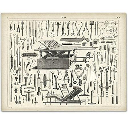 Vintage Medical Instruments Art Print - 11x14 Unframed Art Print - Great Gift for Medical and Nursing (Best Gifts For Art Students)