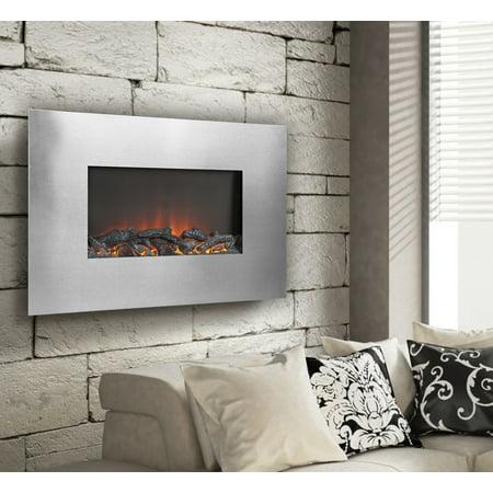 "Flamelux TUCSON 35"" Wide Wall Mount Firebox, Silver"