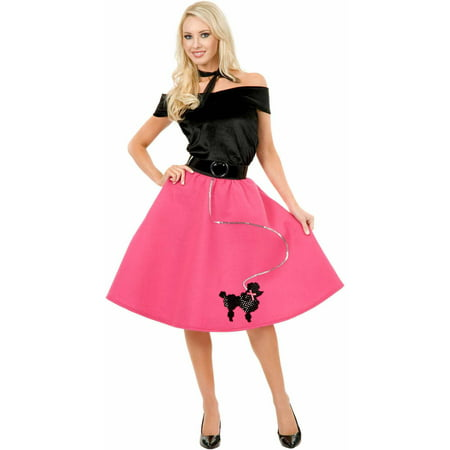 Poodle Skirt, Top and Scarf Women's Adult Halloween Costume (Gru Costume Scarf)