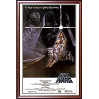 FRAMED Star Wars - A New Hope (Style A) 24x36 Poster Dry Mounted in Executive Series Walnut Wood Frame With Gold Lip - Crafted in USA