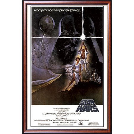 Gold Western Style Mounting - FRAMED Star Wars - A New Hope (Style A) 24x36 Poster Dry Mounted in Executive Series Walnut Wood Frame With Gold Lip - Crafted in USA