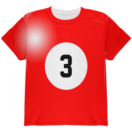 Halloween Billiard Pool Ball Three Costume Youth T Shirt (Three Group Halloween Ideas)