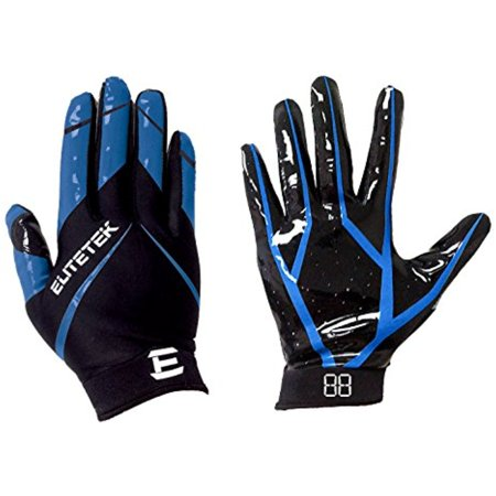 EliteTek RG-14 Football Gloves (Blue, Youth L)
