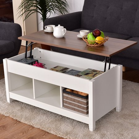 Costway Lift Top Coffee Table W Hidden Compartment And Storage Shelves Modern Furniture