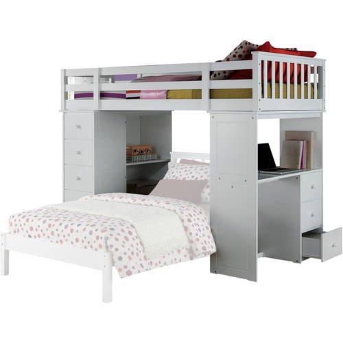 Acme Freya Twin Loft Bed with Bookshelf Ladder