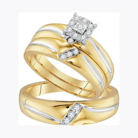 - 10K Yellow Gold 0.22ctw Shiny Pave Diamond Fashion Center Round Trio Set Ring