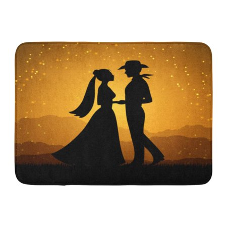 GODPOK Beauty Black Arabian Silhouettes of Young Woman and Cowboy Man Love Couple Colorful Beautiful Bride Rug Doormat Bath Mat 23.6x15.7 inch](Famous Cowboy Couples)