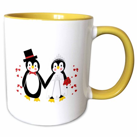 3dRose Cute Red Hearts Penguin Bride and Groom Wedding Couple - Two Tone Yellow Mug, 11-ounce