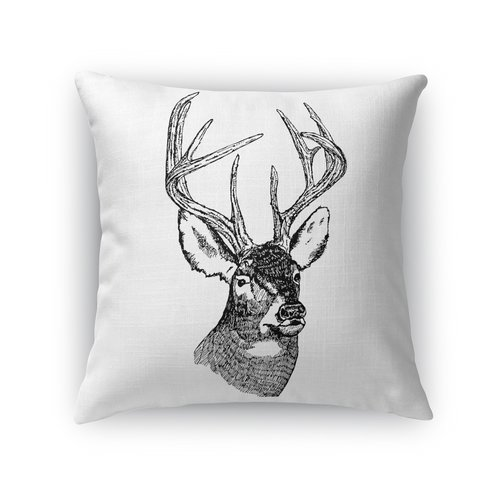 Loon Peak Anglo Deer Bust Indoor/Outdoor Throw Pillow