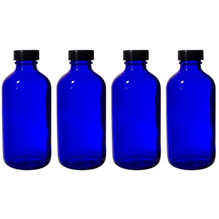 Cobalt Blue Glass Boston Round Bottle with Black Phenolic Cone Lined Cap - 8 oz  (4 (Phenolic Bottle Cap)