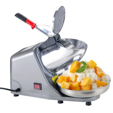 Zimtown Upgrade Electric Ice Crusher Shaver Machine Snow Cone Maker Shaved Ice Stainless Steel  Double Knife