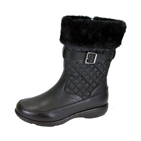 PEERAGE Leila Women Wide Width Wide Calf Leather and Nylon Winter Boots BLACK 7](Wide Width Boots Womens)
