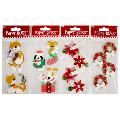 4 Pack Paper Bliss Adhesive Holiday Accent Craft Scrapbooking Christmas Stickers