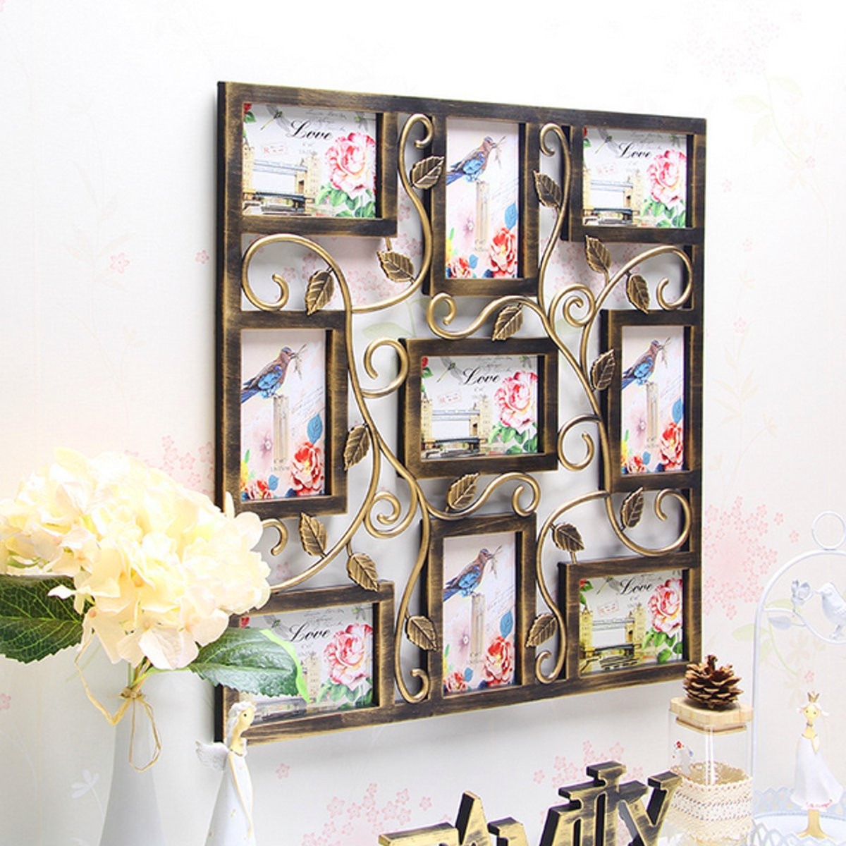Decorative Bronze-Color Wall Hanging Collage Picture Photo Frame, 9 Openings,6''x4""