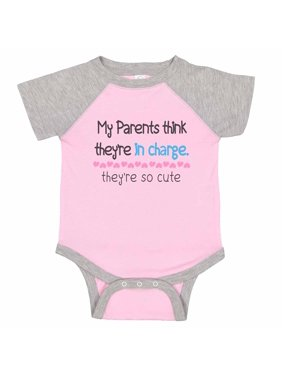 """Funny Family Baseball Bodysuit Raglan """"My Parents Think They're In Charge. They're So Cute"""" Adorable Sassy Newborn Shirt Gift - Baby Tee, 0-3 months, Pink & Grey Short Sleeve"""