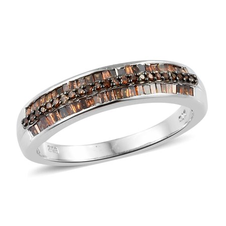 Baguette Red Diamond Band Ring 925 Sterling Silver Platinum Plated Gift Jewelry for Women Size 8 Cttw 0.5