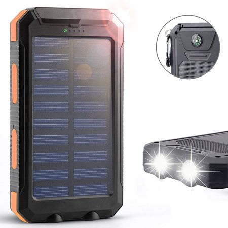 Tagital Solar 12 000Mah Power Bank With Dual Usb Solar Panel Charger With 2 Led Light Carabiner Compass Portable For Emergency Outdoor Camping Travel