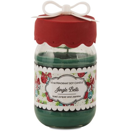 Pavilion- Iced Juniper and Jasmine Mason Jar Soy Candle with Red Silicone Lid (Juniper Candle)